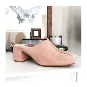 $75 KENNETH COLE PINK SUEDE MULES